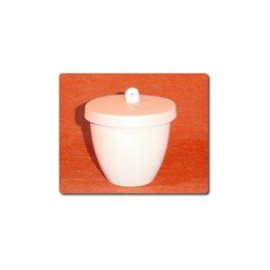 Creuset porcelaine forme basse avec couvercle ( enseignement )