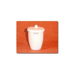Creuset porcelaine forme haute avec couvercle ( enseignement )